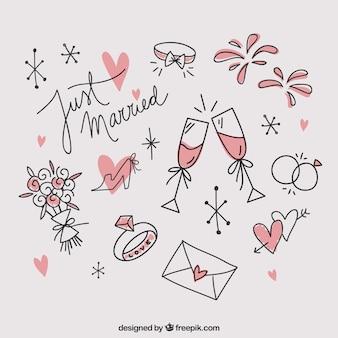 Sketches decorative wedding elements