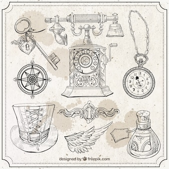 Sketches elements in steampunk style