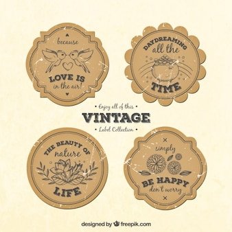 Sketches elements vintage labels with phrases