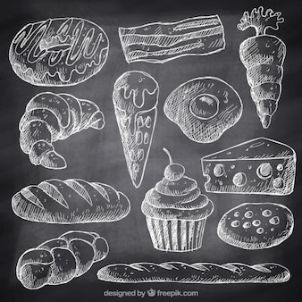 Sketches fast food and desserts with chalk
