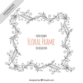 Sketches floral frame background