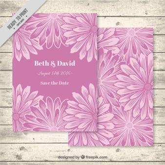 Sketches floral wedding invitation