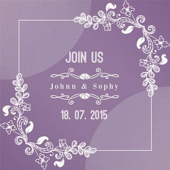 Sketches flowers on a purple wedding card