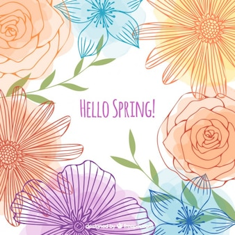 Sketches flowers spring background