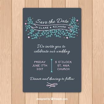 Зарисовки листьев детали свадебного приглашения