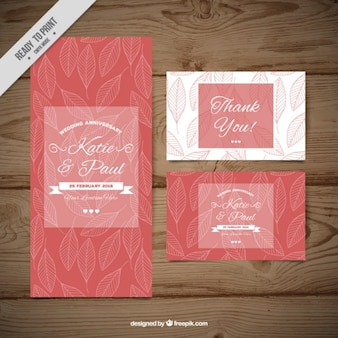Sketches leaves wedding invitation