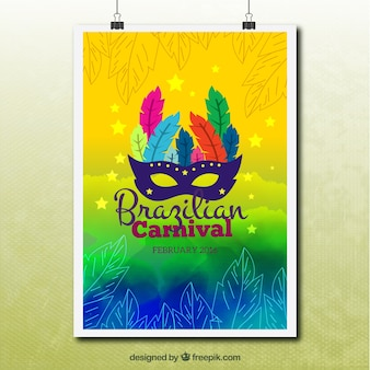 Sketches leaves with carnival mask poster
