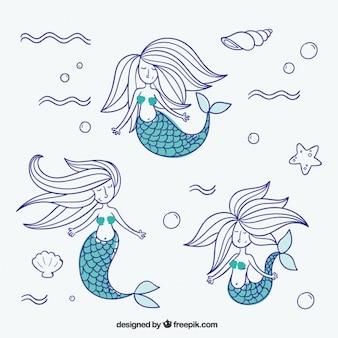 Sketches mermaids pack