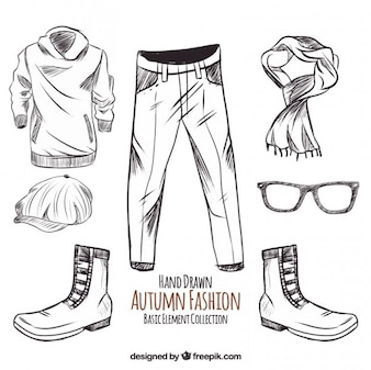 Sketches of autumn clothing and accessories