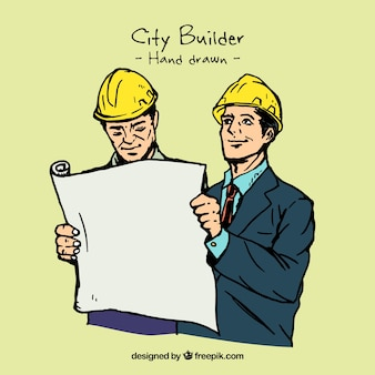 Sketches of builders illustration