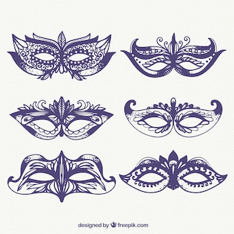 Sketches of carnival ornamental masks pack