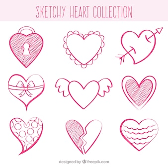 Sketches of decorative hearts
