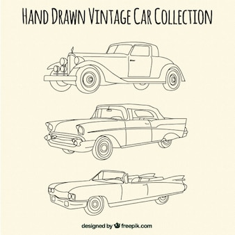 Sketches of elegant antique cars