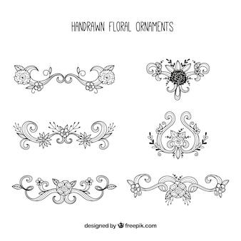 Sketches of elegant floral ornaments