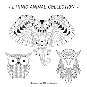 Sketches of ethnic animals set