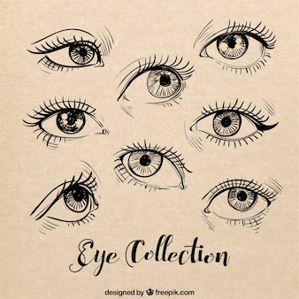 Sketches of female eyes set