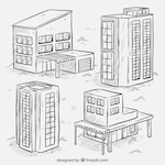Sketches of four buildings set