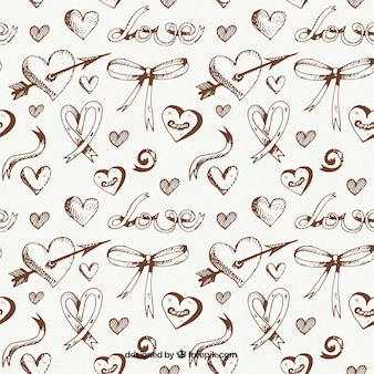 sketches of hearts and bows pattern