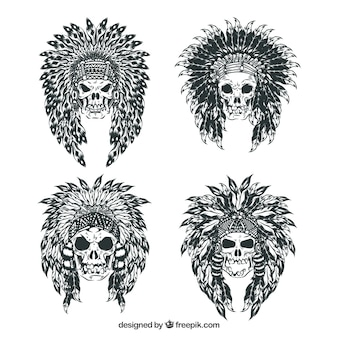 Sketches of indian skulls pack