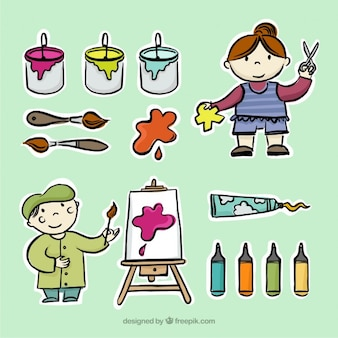 Sketches of little artists with paint tools