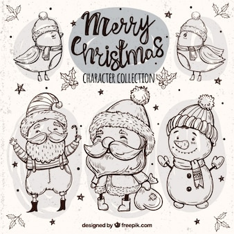 Sketches of lovely birds and christmas characters