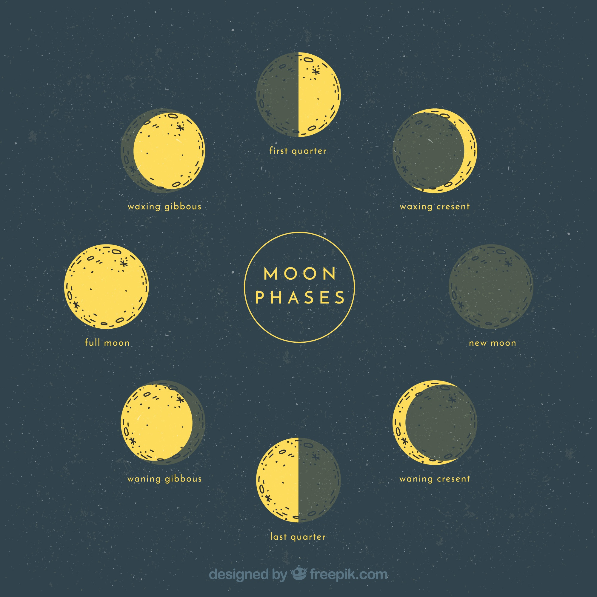Sketches of lunar phases
