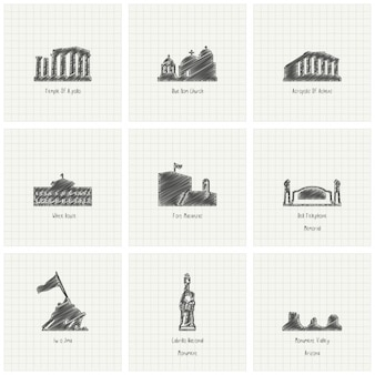 Sketches of monuments