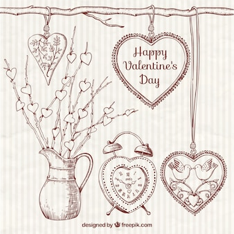 Sketches ornamental valentine day elements