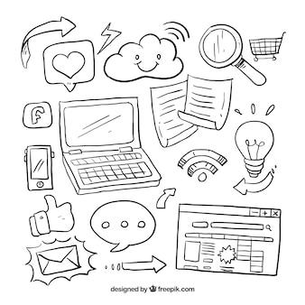 Sketches pack of social media