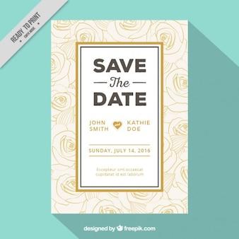Sketches roses wedding invitation