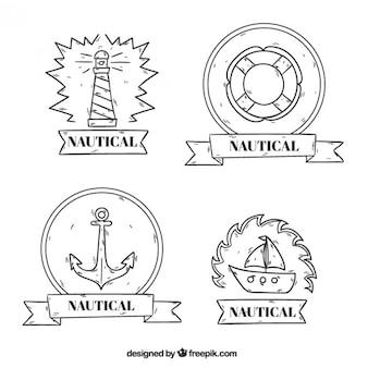 Sketches salor badges set