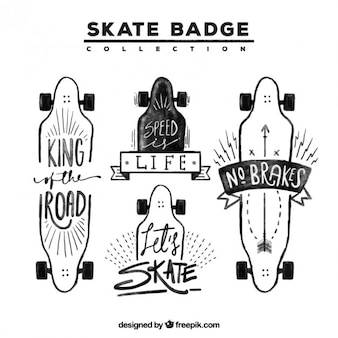 Sketches skateboards in modern style