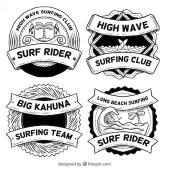 Sketches surf badges set