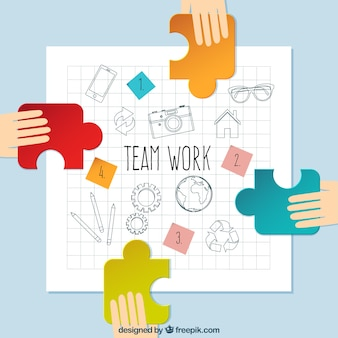 Sketches team work with pieces of puzzle