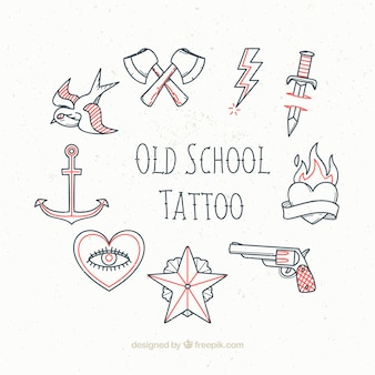 Sketches vintage tattoos set