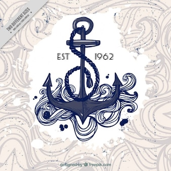Sketchy anchor with hand drawn waves background