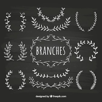 Sketchy branches collection on blackboard