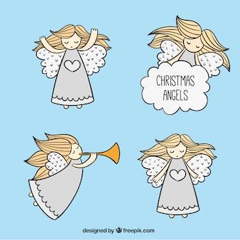 Sketchy christmas angels