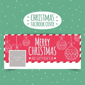 Sketchy christmas facebook cover in red color