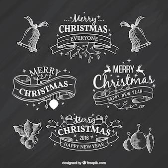 Sketchy christmas ribbons on blackboard