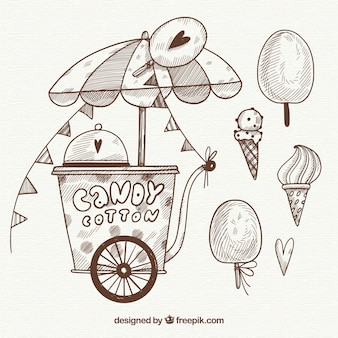 Sketchy cotton candy cart and sweets