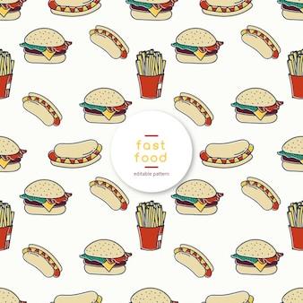 Sketchy fast food editable pattern
