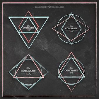 Sketchy geometrical logos on blackboard