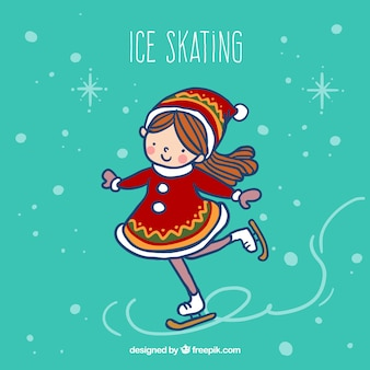 Sketchy girl doing ice skating