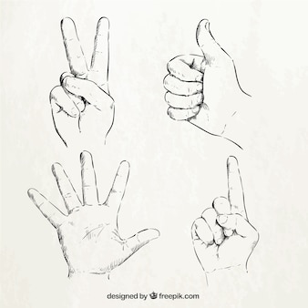 Sketchy hand signs