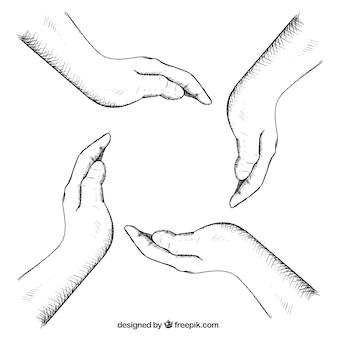Sketchy hands making a circle