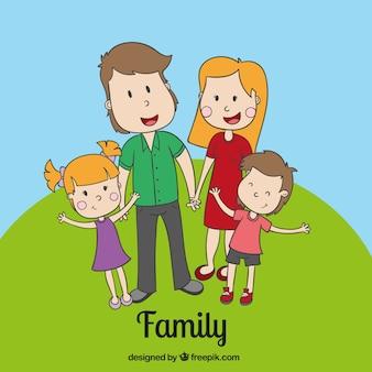 Sketchy happy family