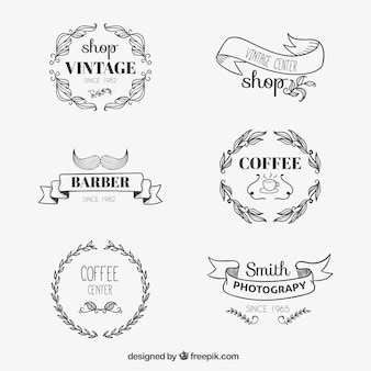 Sketchy logos in vintage style