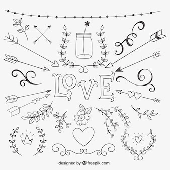 Sketchy love decoration