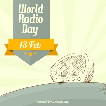Sketchy radio in vintage style background